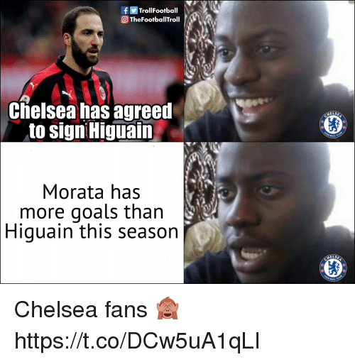 higuain: | f Trol!Football  TheFootballTroll  Cielsea has agreet  to signi Higuain  ELSE  BALL CL  Morata has  more goals than  Higuain this season  ELSE  BALL C Chelsea fans 🙈 https://t.co/DCw5uA1qLI