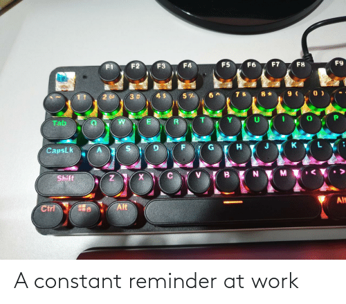tab: F9  F7  F5  F6  F8  F4  F2  F3  8 * 9 ( 0 )  3 #  Tab  CapsLk  Shift  Alt  Alt  Ctrl A constant reminder at work