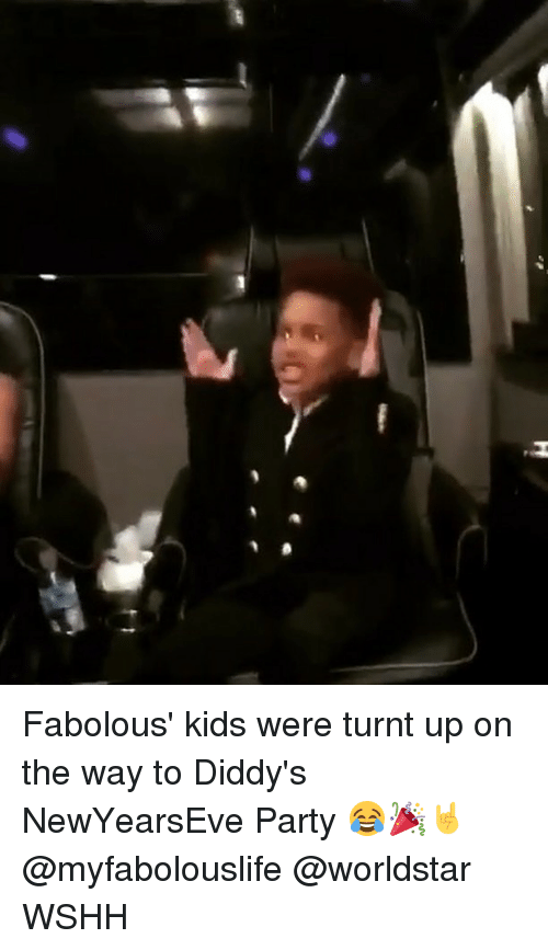 Getting turnt: Fabolous' kids were turnt up on the way to Diddy's NewYearsEve Party 😂🎉🤘 @myfabolouslife @worldstar WSHH