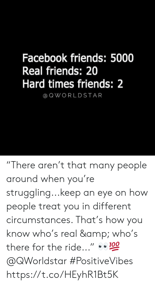 "Facebook, Friends, and Real Friends: Facebook friends: 5000  Real friends: 20  Hard times friends: 2  @ QWORLDSTAR ""There aren't that many people around when you're struggling...keep an eye on how people treat you in different circumstances. That's how you know who's real & who's there for the ride..."" 👀💯 @QWorldstar #PositiveVibes https://t.co/HEyhR1Bt5K"