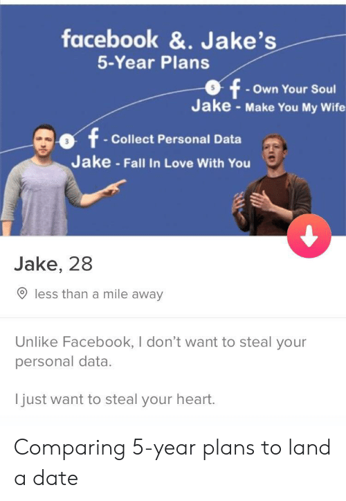 Jakes: facebook &. Jake's  5-Year Plans  - Own Your Soul  Jake - Make You My Wife  t Collect Personal Data  Jake - Fall In Love With You  Jake, 28  O less than a mile away  Unlike Facebook, I don't want to steal your  personal data.  I  just want to steal your heart  . Comparing 5-year plans to land a date