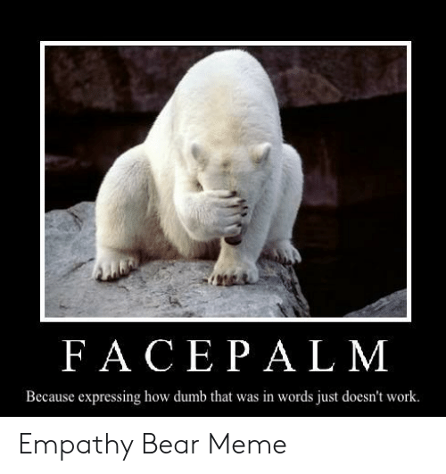 Dumb, Meme, and Work: FACEPAL M  Because expressing how dumb that was in words just doesn't work. Empathy Bear Meme
