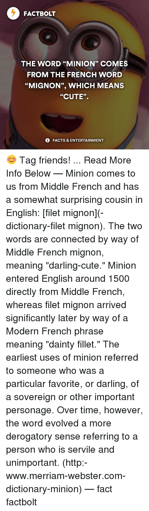 """merriam webster: FACT BOLT  THE WORD """"MINION"""" COMES  FROM THE FRENCH WORD  """"MIGNON"""", WHICH MEANS  """"CUTE"""".  FACTS & ENTERTAINMENT 😊 Tag friends! ... Read More Info Below — Minion comes to us from Middle French and has a somewhat surprising cousin in English: [filet mignon](-dictionary-filet mignon). The two words are connected by way of Middle French mignon, meaning """"darling-cute."""" Minion entered English around 1500 directly from Middle French, whereas filet mignon arrived significantly later by way of a Modern French phrase meaning """"dainty fillet."""" The earliest uses of minion referred to someone who was a particular favorite, or darling, of a sovereign or other important personage. Over time, however, the word evolved a more derogatory sense referring to a person who is servile and unimportant. (http:-www.merriam-webster.com-dictionary-minion) — fact factbolt"""