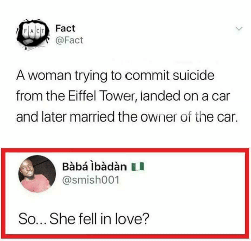 Commit Suicide: FACT Fact  @Fact  A woman trying to commit suicide  from the Eiffel Tower, landed on a car  and later married the owner of the car.  Bàbá lbàdàn  @smish001  So... She fell in love?