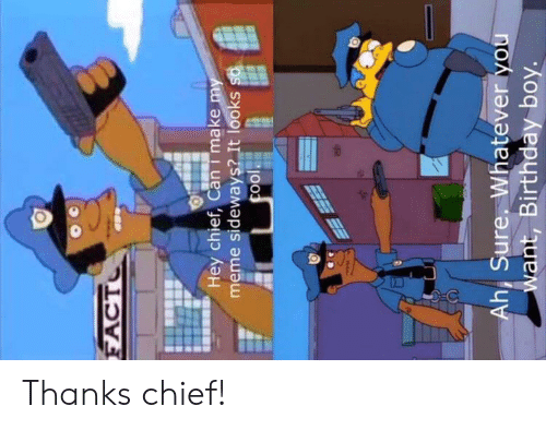 My Meme: FACT  Hey chief, Cani make my  meme sideways? It looks so  cool  Ah, Sure, Whatever you  want, Birthday boy. Thanks chief!