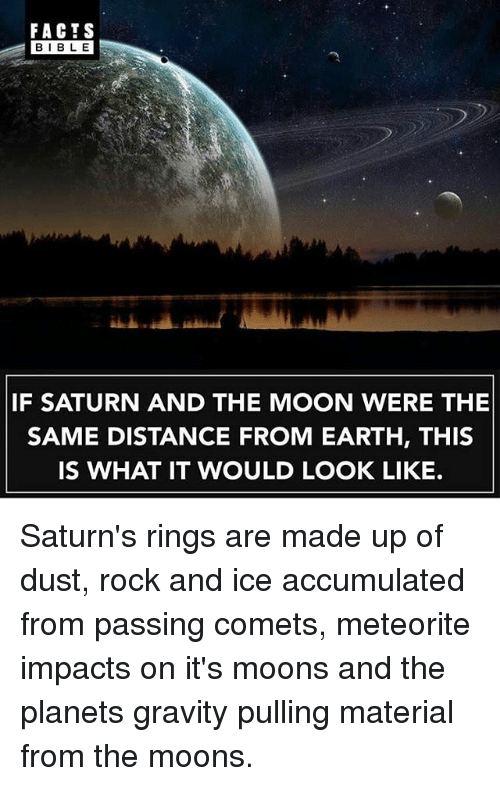 meteorite: FACTS  BIBLE  IF SATURN AND THE MOON WERE THE  SAME DISTANCE FROM EARTH, THIS  IS WHAT IT WOULD LOOK LIKE. Saturn's rings are made up of dust, rock and ice accumulated from passing comets, meteorite impacts on it's moons and the planets gravity pulling material from the moons.