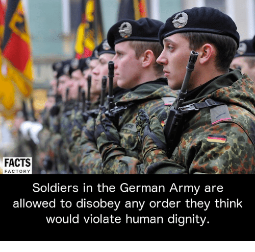 Disobey: FACTS  FACTORY  Soldiers in the German Army are  allowed to disobey any order they think  would violate human dignity
