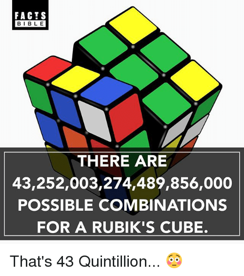 Facts, Memes, and 🤖: FACTS  I BLE  THERE ARE  43,252,003,274,489,856,000  POSSIBLE COMBINATIONS  FOR A RUBIK'S CUBE. That's 43 Quintillion... 😳