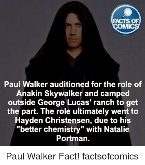 "Anakin Skywalker: FACTS OF  MMI  Paul Walker auditioned for the role of  Anakin Skywalker and camped  outside George Lucas' ranch to get  the part. The role ultimately went to  Hayden Christensen, due to his  ""better chemistry"" with Natalie  Portman. Paul Walker Fact! factsofcomics"