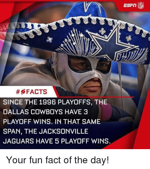 jacksonville jaguars: FACTS  SINCE THE 1996 PLAYOFFS, THE  DALLAS COWBOYS HAVE 3  PLAYOFF WINS. IN THAT SAME  SPAN, THE JACKSONVILLE  JAGUARS HAVE 5 PLAYOFF WINS. Your fun fact of the day!
