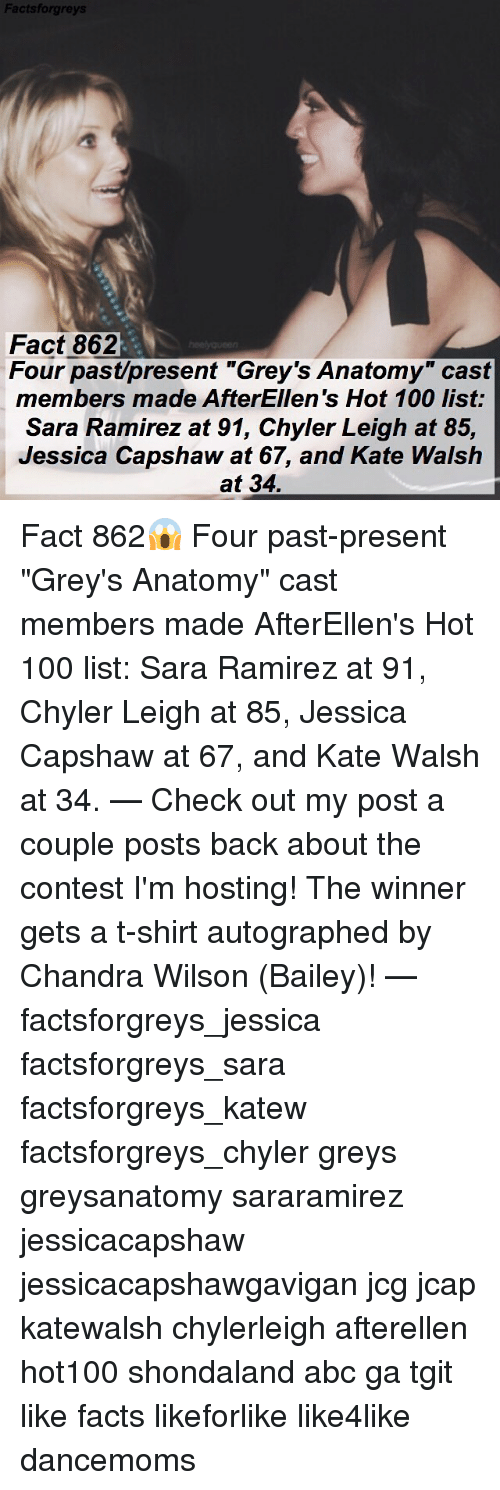 """Ramirezes: Factsforgre  Fact 862  Four past/present """"Grey's Anatomy"""" cast  members made AfterEllen's Hot 100 list:  Sara Ramirez at 91, Chyler Leigh at 85,  Jessica Capshaw at 67, and Kate Walsh  at 34. Fact 862😱 Four past-present """"Grey's Anatomy"""" cast members made AfterEllen's Hot 100 list: Sara Ramirez at 91, Chyler Leigh at 85, Jessica Capshaw at 67, and Kate Walsh at 34. — Check out my post a couple posts back about the contest I'm hosting! The winner gets a t-shirt autographed by Chandra Wilson (Bailey)! — factsforgreys_jessica factsforgreys_sara factsforgreys_katew factsforgreys_chyler greys greysanatomy sararamirez jessicacapshaw jessicacapshawgavigan jcg jcap katewalsh chylerleigh afterellen hot100 shondaland abc ga tgit like facts likeforlike like4like dancemoms"""