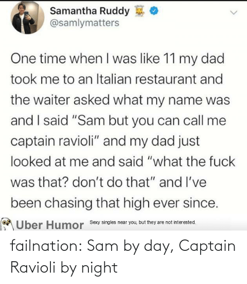 sam: failnation:  Sam by day, Captain Ravioli by night