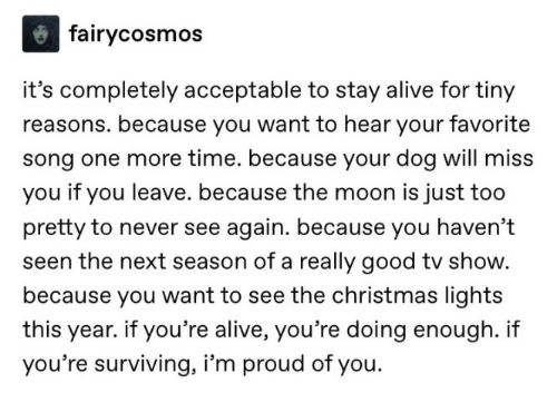 Alive, Christmas, and Good: fairycosmos  it's completely acceptable to stay alive for tiny  reasons. because you want to hear your favorite  song one more time. because your dog will miss  you if you leave. because the moon is just too  pretty to never see again. because you haven't  seen the next season of a really good tv show.  because you want to see the christmas lights  year. if you're alive, you're doing enough. i  you're surviving, i'm proud of you.