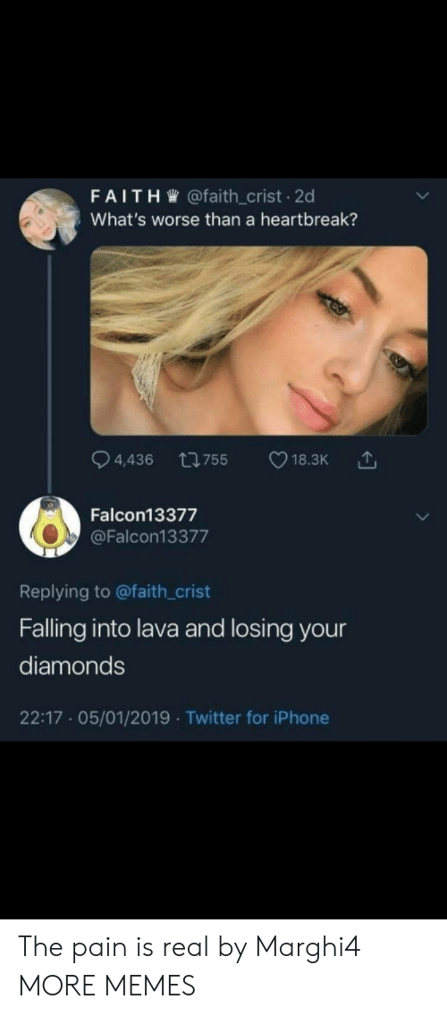 lava: FAITH @faith_crist 2d  What's worse than a heartbreak?  ti755  4,436  18.3K  Falcon13377  @Falcon13377  Replying to @faith_crist  Falling into lava and losing your  diamonds  22:17 05/01/2019 Twitter for iPhone The pain is real by Marghi4 MORE MEMES