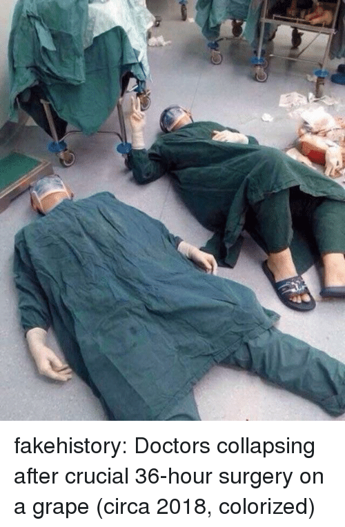 crucial: fakehistory:  Doctors collapsing after crucial 36-hour surgery on a grape (circa 2018, colorized)