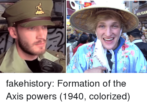 Formation: fakehistory:  Formation of the Axis powers (1940, colorized)