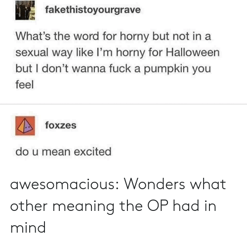 a sexual: fakethistoyourgrave  What's the word for horny but not in a  sexual way like I'm horny for Halloween  but I don't wanna fuck a pumpkin you  feel  foxzes  do u mean excited awesomacious:  Wonders what other meaning the OP had in mind