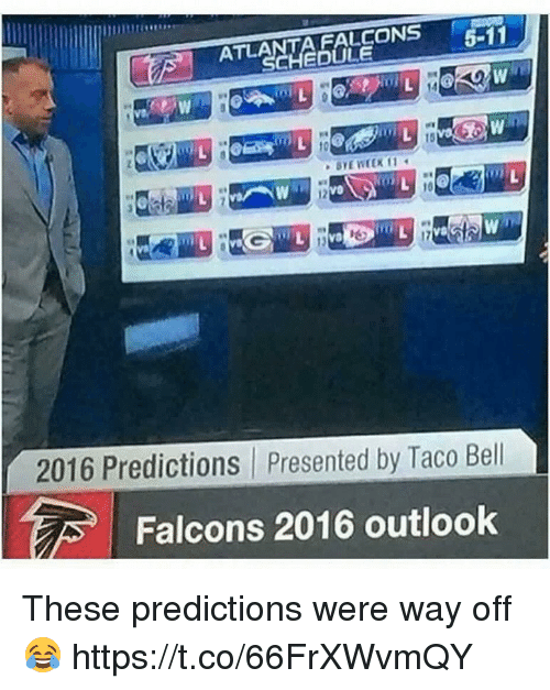 atla: FALCONS  5-11  ATLA  2016 Predictions presented by Taco Bell  Falcons 2016 outlook These predictions were way off 😂 https://t.co/66FrXWvmQY