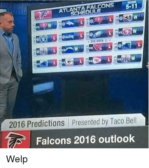 atla: FALCONS  5-11  ATLA  CHEDULE  2016 Predictions presented by Taco Bell  Falcons 2016 outlook Welp