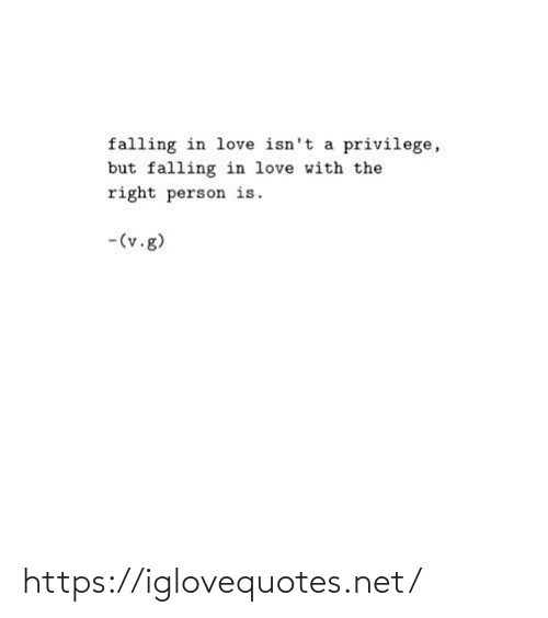 Love, Net, and Person: falling in love isn't a privilege,  but falling in love with the  right person is.  -(v.g) https://iglovequotes.net/