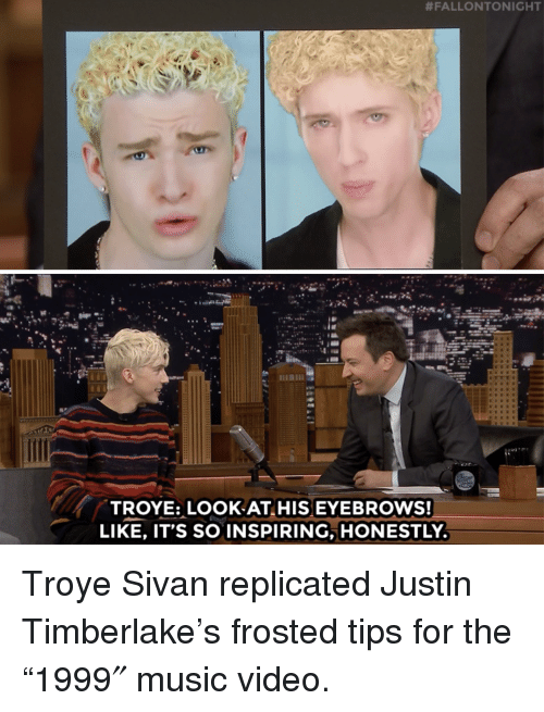 "Justin TImberlake, Music, and Target:  #FALLONTONIGHT  ese  TROYE: LOOK AT HIS EYEBROWS!  LIKE, IT'S SO INSPIRING, HONESTLY Troye Sivan replicated Justin Timberlake's frosted tips for the ""1999″ music video."