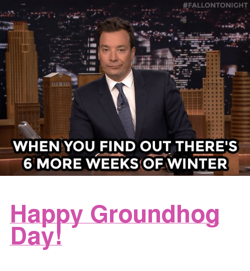"""groundhog:  #FALLONTONIGHT  WHEN YOU FIND OUT THERE'S  6 MORE WEEKSOF WINTER <h2><a href=""""http://fallontonight.tumblr.com/tagged/Macros"""" target=""""_blank"""">Happy Groundhog Day!</a></h2>"""