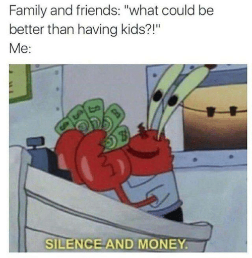 "family and friends: Family and friends: ""what could be  better than having kids?!""  Me:  SILENCE AND MONEY."