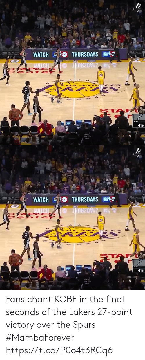 Spurs: Fans chant KOBE in the final seconds of the Lakers 27-point victory over the Spurs #MambaForever  https://t.co/P0o4t3RCq6