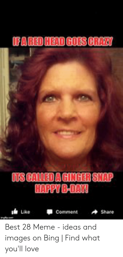 Ginger Snap Meme: FARED HEAD GOES CRAZY  ITS CALLED A GINGER SNAP  HAPPY B-DAYI  Comment  Like  Share Best 28 Meme - ideas and images on Bing | Find what you'll love