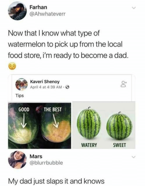 Dad, Food, and Best: Farhan  @Ahwhateverr  Now that I know what type of  watermelon to pick up from the local  food store, i'm ready to become a dad.  Kaveri Shenoy  April 4 at 4:39 AM.  Tips  GOODTHE BEST  WATERY  SWEET  Mars  @blurrbubble  My dad just slaps it and knows