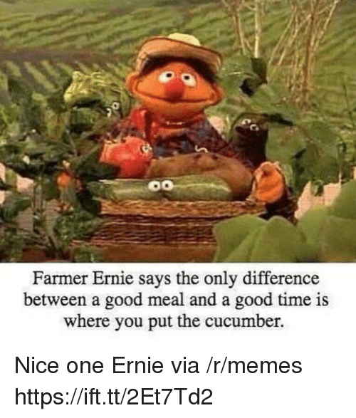nice one: Farmer Ernie s  ays the only difference  between a good meal and a good time is  where you put the cucumber. Nice one Ernie via /r/memes https://ift.tt/2Et7Td2