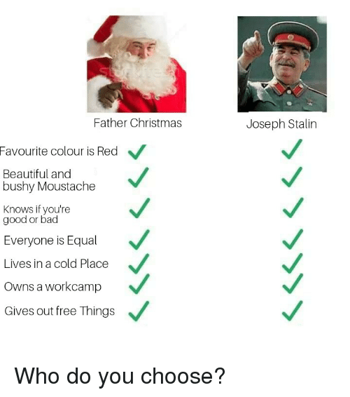 moustache: Father Christmas  Joseph Stalin  Favourite  colour is Red  Beautiful and  bushy Moustache  Knows if you're  good or bad  Everyone is Equal  Lives in a cold Place  Owns a workcamp  Gives out free Things Who do you choose?