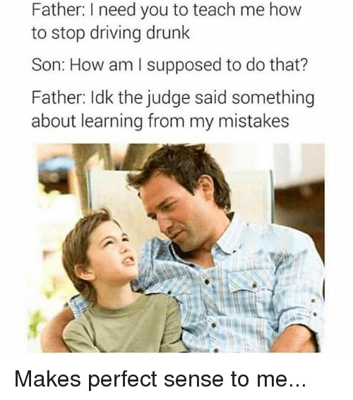 makes-perfect-sense: Father: I need you to teach me how  to stop driving drunk  Son: How am I supposed to do that?  Father: Idk the judge said something  about learning from my mistakes Makes perfect sense to me...