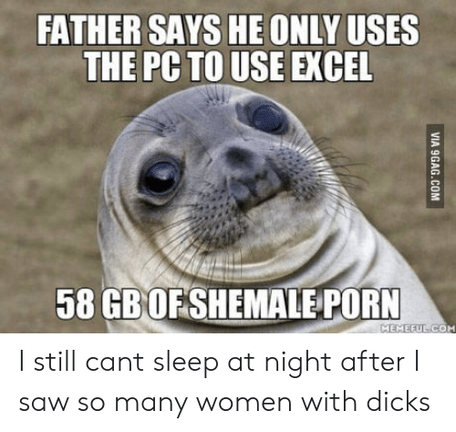Dicks, Saw, and Excel: FATHER SAYS HE ONLY USES  THE PC TO USE EXCEL  58 GBOFSHEMALE PORN  MEMEEUL-C I still cant sleep at night after I saw so many women with dicks