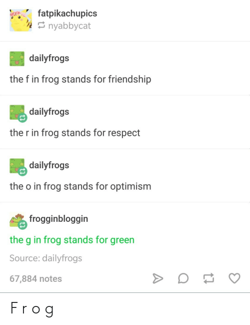 Respect, Friendship, and Optimism: fatpikachupics  nyabbycat  dailyfrogs  the f in frog stands for friendship  dailyfrogs  the r in frog stands for respect  dailyfrogs  the o in frog stands for optimism  frogginbloggin  the g in frog stands for green  Source: dailyfrogs  67,884 notes F r o g