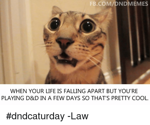 Life, Cool, and fb.com: FB.COM/DNDMEMES  WHEN YOUR LIFE IS FALLING APART BUT YOU'RE  PLAYING D&D IN A FEW DAYS SO THAT'S PRETTY COOL. #dndcaturday  -Law