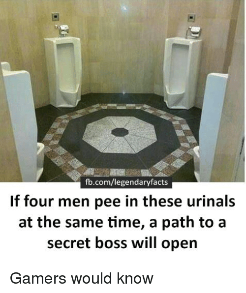 urinals: fb.com/legendaryfacts  If four men pee in these urinals  at the same time, a path to a  secret boss will open Gamers would know
