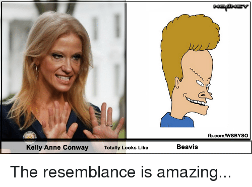 resemblance: fb.com/WSBYSO  Kelly Anne Conway  Totally Looks Like  Beavis The resemblance is amazing...