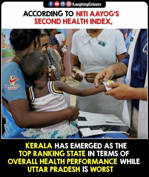 Indianpeoplefacebook, According, and Index: fD  /LaughingColours  ACCORDING TO NITI AAYOG'S  SECOND HEALTH INDEX,  LAUOHING  KERALA HAS EMERGED AS THE  TOP RANKING STATE IN TERMS OF  OVERALL HEALTH PERFORMANCE WHILE  UTTAR PRADESH IS WORST