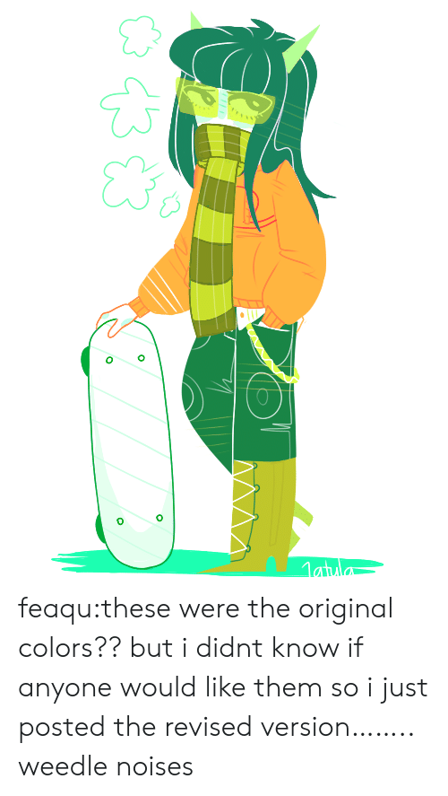 Target, Tumblr, and Blog: feaqu:these were the original colors?? but i didnt know if anyone would like them so i just posted the revised version…….. weedle noises