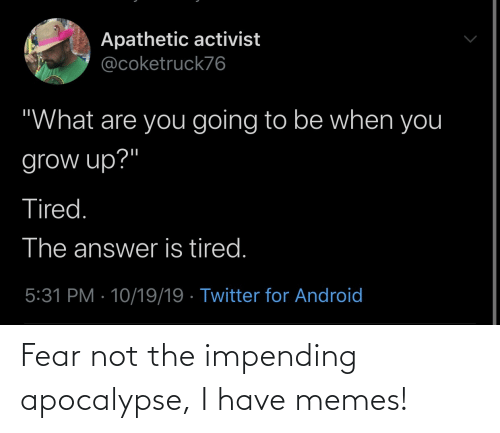 Not The: Fear not the impending apocalypse, I have memes!