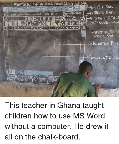processing: FEATURES FWORN PROCESSING NINDow  TITLE BAR  le Edit Vow hsert formt Tools Tabe  qquesti  STANDARD 7oolBA  SCROLL BAR  、  INSERT ON PANT  At This teacher in Ghana taught children how to use MS Word without a computer. He drew it all on the chalk-board.