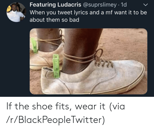 Bad, Blackpeopletwitter, and Ludacris: Featuring Ludacris @suprslimey 1d  When you tweet lyrics and a mf want it to be  about them so bad If the shoe fits, wear it (via /r/BlackPeopleTwitter)