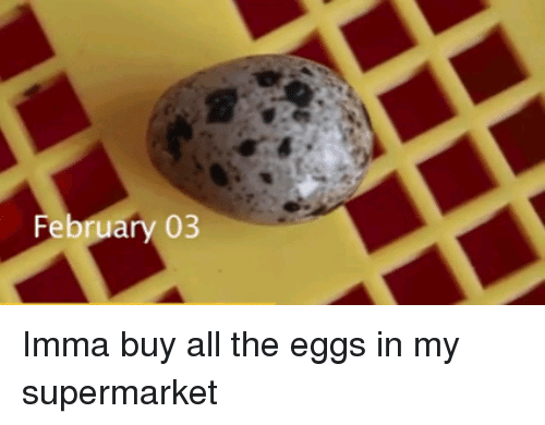 All The, All, and Supermarket: February 03 Imma buy all the eggs in my supermarket