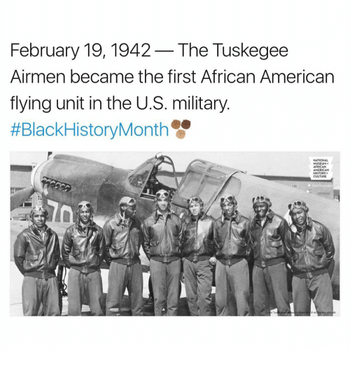 Memes, Smithsonian, and American History: February 19, 1942 -The Tuskegee  Airmen became the first African American  flying unit in the U.S. military  #BlackHistoryMonth  NATIONAL  MUSEUM  AFRICAN  AMERICAN  HISTORY  CULTURE  Smithsonian  in front of a P4dighter
