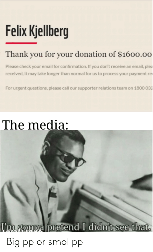 Felix Kjellberg: Felix Kjellberg  Thank you for your donation of $1600.00  Please check your email for confirmation. If you don't receive an email, plea  received, it may take longer than normal for us to process your payment re  For urgent questions, please call our supporter relations team on 1800 032  The media:  I'm gonna pretend I didn't see that.  made with mematic Big pp or smol pp