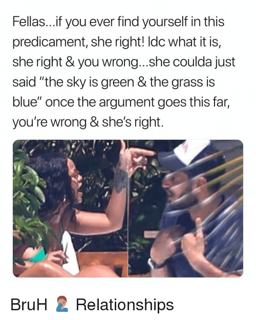 "Bruh, Relationships, and Blue: Fellas...f you ever find yourself in this  predicament, she right! ldc what it is,  she right & you wrong...she coulda just  said ""the sky is green & the grass is  blue"" once the argument goes this far,  you're wrong & she's right BruH 🤦🏽‍♂️ Relationships"