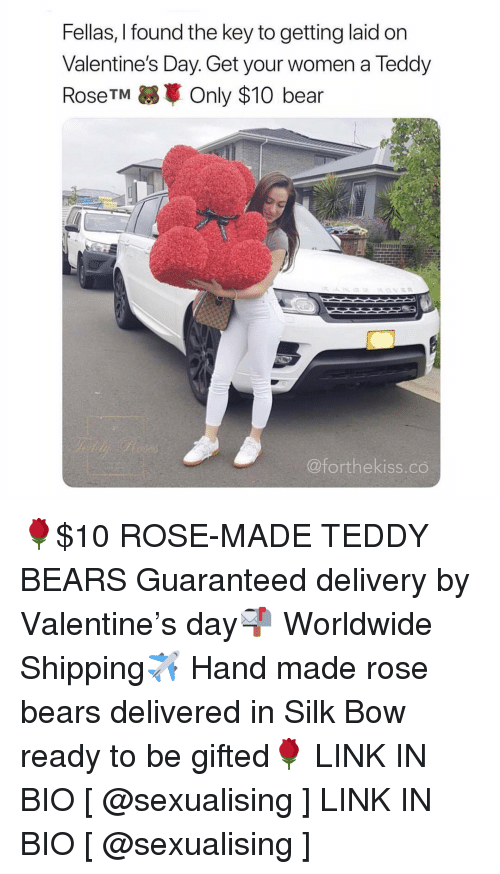 Getting Laid: Fellas, I found the key to getting laid on  Valentine's Day. Get your women a Teddy  RoseTM Only $10 bear  @forthekiss.co 🌹$10 ROSE-MADE TEDDY BEARS Guaranteed delivery by Valentine's day📬 Worldwide Shipping✈️ Hand made rose bears delivered in Silk Bow ready to be gifted🌹 LINK IN BIO [ @sexualising ] LINK IN BIO [ @sexualising ]