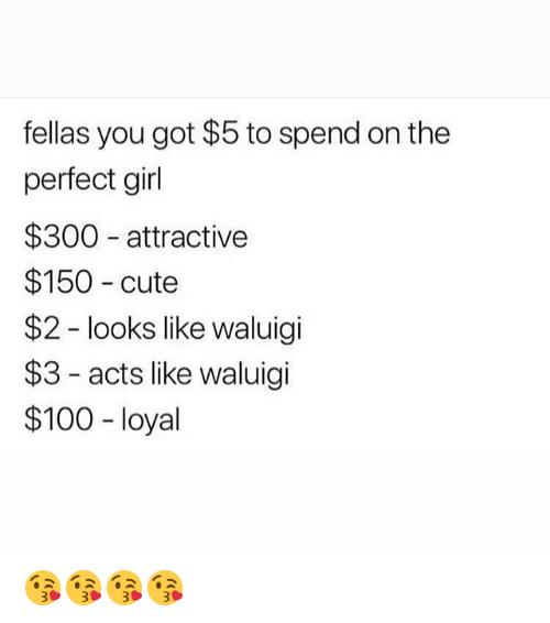 Anaconda, Cute, and Memes: fellas you got $5 to spend on the  perfect girl  $300 attractive  $150 cute  $2 - looks like waluigi  $3- acts like waluigi  $100 - loyal 😘😘😘😘