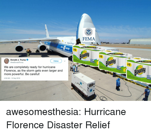 fema: FEMA  112  our  112  Donald J. Trump  @realDonaldTrump  ou  Follow  -12  We are completely ready for hurricane  Florence, as the storm gets even larger and  more powerful. Be careful!  4:39 AM-13 Sep 2018  goin awesomesthesia:  Hurricane Florence Disaster Relief